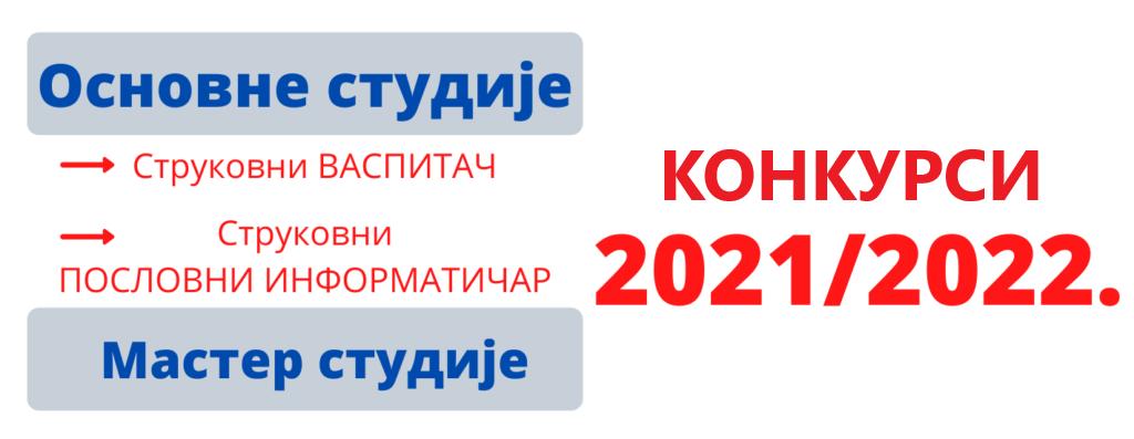 Конкурс за упис студената 2021/2022. - ПРВИ уписни рок
